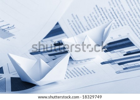 Business concept, paper boat and documents - stock photo
