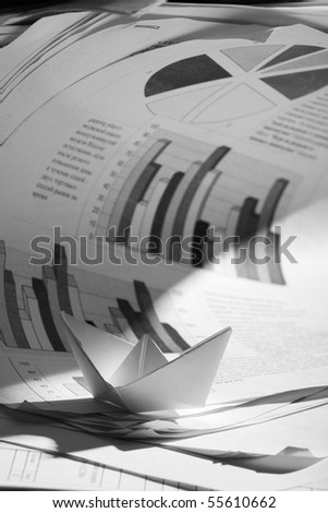 Business concept, paper boat and tsunami documents - stock photo