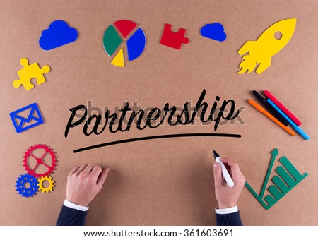 Business Concept-Partnership word with colorful icons