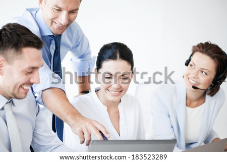 business concept - picture of group of people working in call center or office - stock photo