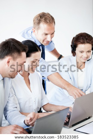 business concept - picture of group of people working in call center or office