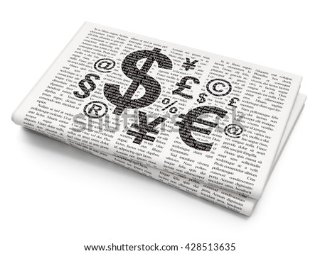 Business concept: Pixelated black Finance Symbol icon on Newspaper background, 3D rendering - stock photo