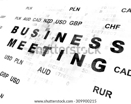 Business concept: Pixelated black text Business Meeting on Digital wall background with Currency - stock photo