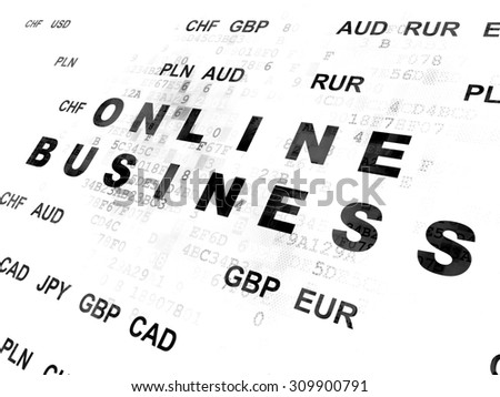 Business concept: Pixelated black text Online Business on Digital wall background with Currency - stock photo