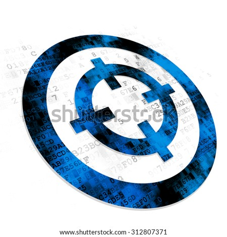 Business concept: Pixelated blue Target icon on Digital background - stock photo