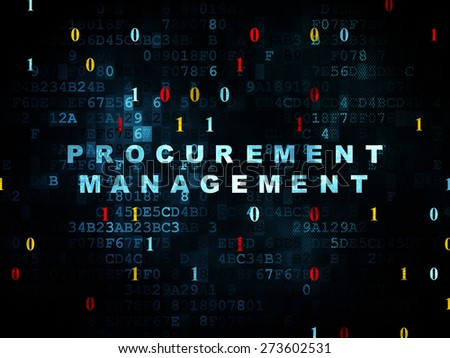 Business concept: Pixelated blue text Procurement Management on Digital wall background with Binary Code, 3d render - stock photo