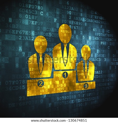 Business concept: pixelated Business Team icon on digital background, 3d render - stock photo