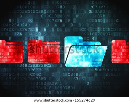 Business concept: pixelated Folder icon on digital background, 3d render - stock photo