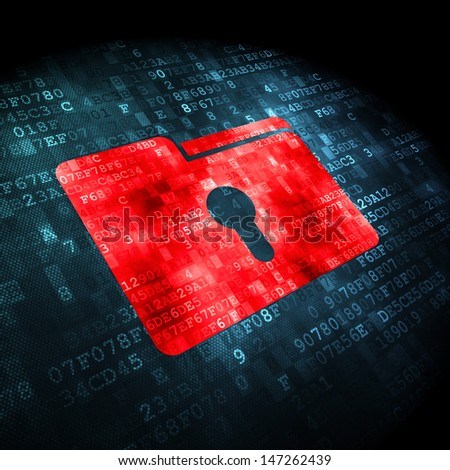 Business concept: pixelated Folder With Keyhole icon on digital background, 3d render - stock photo