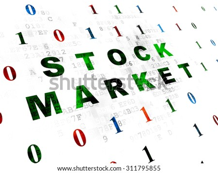 Business concept: Pixelated green text Stock Market on Digital wall background with Binary Code