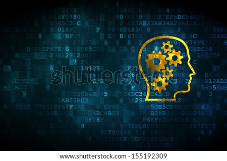 Business concept: pixelated Head With Gears icon on digital background, empty copyspace for card, text, advertising, 3d render - stock photo
