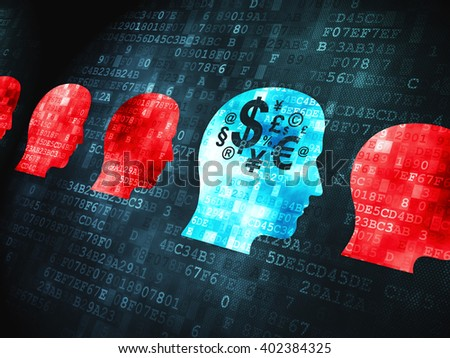 Business concept: pixelated Head With Money icon on digital background - stock photo