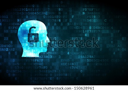 Business concept: pixelated Head With Padlock icon on digital background, empty copyspace for card, text, advertising, 3d render