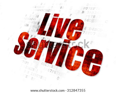 Business concept: Pixelated red text Live Service on Digital background