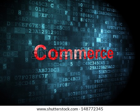 Business concept: pixelated words Commerce on digital background, 3d render