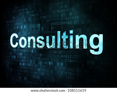 Business concept: pixelated words Consulting on digital screen, 3d render - stock photo