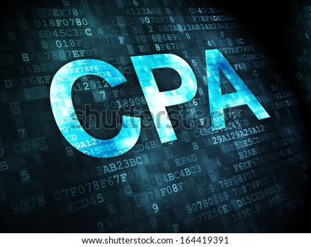 Business concept: pixelated words CPA on digital background, 3d render - stock photo