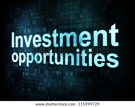 Business concept: pixelated words Investment opportunities on digital screen, 3d render - stock photo