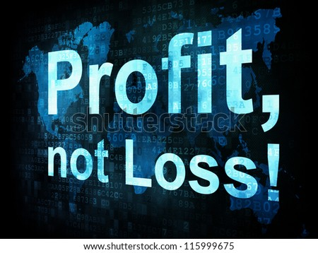 Business concept: pixelated words Profit not Loss on digital screen, 3d render - stock photo