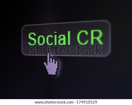 Business concept: pixelated words Social CRM on button with Hand cursor on digital computer screen background, selected focus 3d render - stock photo