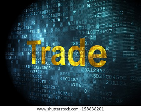 Business concept: pixelated words Trade on digital background, 3d render