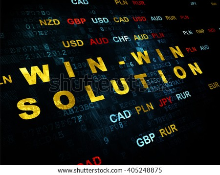 Business concept: Pixelated yellow text Win-win Solution on Digital wall background with Currency