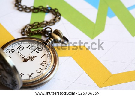 Business concept. Pocket watch on paper background with color chart - stock photo