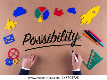 Business Concept-Possibility word with colorful icons - stock photo