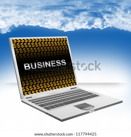 Business Concept Present by Computer Laptop With Silver Business Text and Orange Dollar Sign Wallpaper Against The Blue Sky Background - stock photo