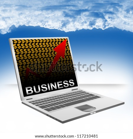 Business Concept Present by Computer Laptop With Silver Business Text on The Rising Arrow and Orange Dollar Sign Wallpaper Against The Blue Sky Background - stock photo