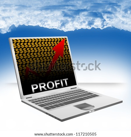 Business Concept Present by Computer Laptop With Silver Profit Text on The Rising Arrow and Orange Dollar Sign Wallpaper Against The Blue Sky Background - stock photo