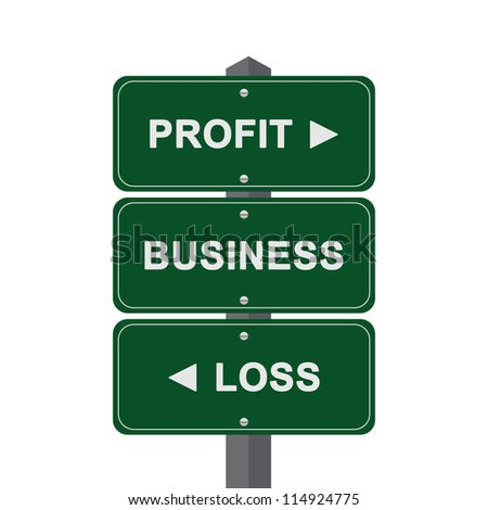 Business Concept Present By Green Street Sign Pointing to Profit, Business And Loss Isolated On White Background - stock photo