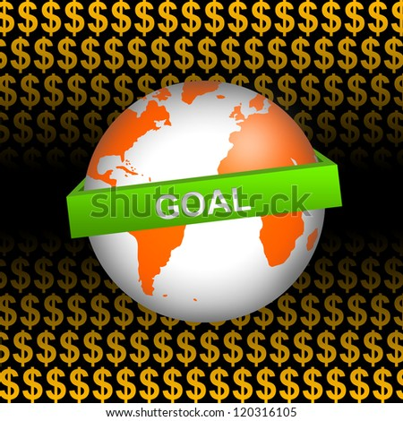 Business Concept Present by Orange Globe With Green Goal Band In Orange Dollar Sign Background - stock photo