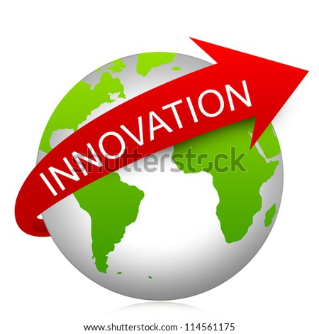 Business Concept Present By Red Innovation Arrow On The Green Globe Isolated On White Background - stock photo