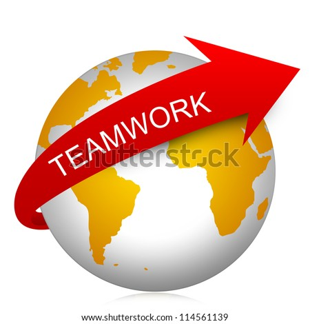 Business Concept Present By Red Teamwork Arrow On The Yellow Globe Isolated On White Background - stock photo