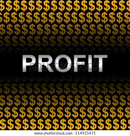 Business Concept Present by Silver Profit Text In Orange Dollar Sign Background - stock photo