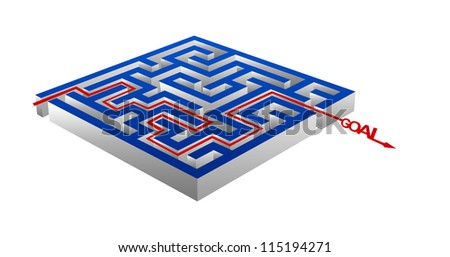 Business Concept Present By The Maze And The Goal Arrow Isolated on White Background - stock photo
