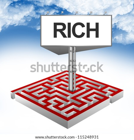 Business Concept Present By The Maze And The Highway Billboard With Rich Text Against A Blue Sky Background - stock photo