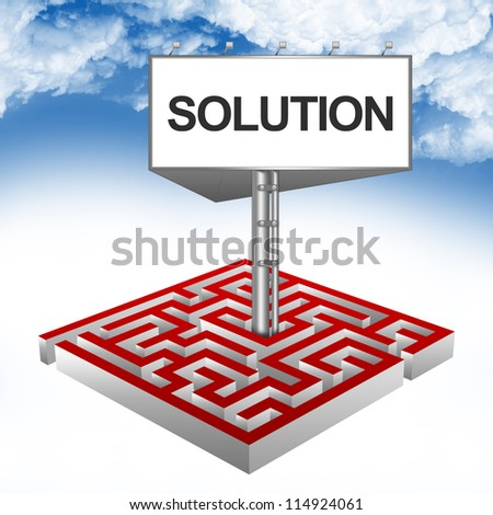 Business Concept Present By The Maze And The Highway Billboard With Solution Text Against A Blue Sky Background - stock photo