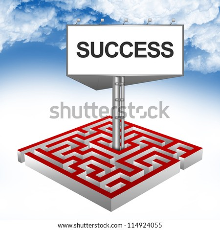 Business Concept Present By The Maze And The Highway Billboard With Success Text Against A Blue Sky Background - stock photo