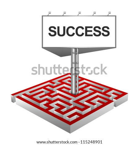Business Concept Present By The Maze And The Highway Billboard With Success Text Isolated on White Background - stock photo