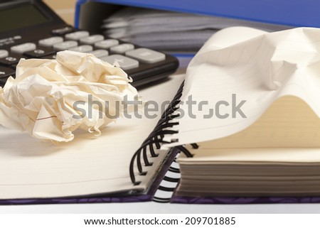 Business concept. Pulling sheets of notebook - stock photo