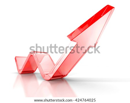 Business concept. Red arrow on a white background. 3d render illustration - stock photo