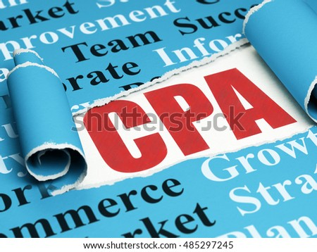 Business concept: red text CPA under the curled piece of Blue torn paper with  Tag Cloud, 3D rendering