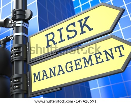 Business Concept. Risk Management Roadsign on Blue Background. - stock photo
