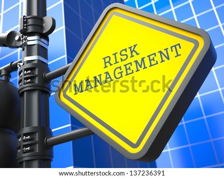 Business Concept. Risk Management Waymark on Blue Background. - stock photo