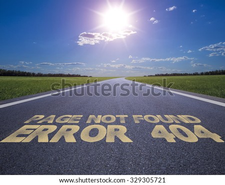 Business concept road: error 404, page not found - stock photo