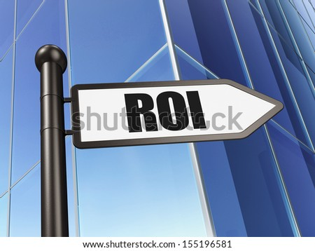 Business concept: ROI on Building background, 3d render - stock photo