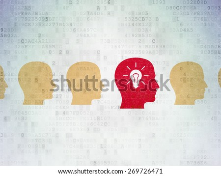 Business concept: row of Painted multicolor head icons around red head with light bulb icon on Digital Paper background, 3d render - stock photo