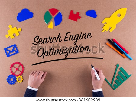 Business Concept-Search Engine Optimization word with colorful icons - stock photo